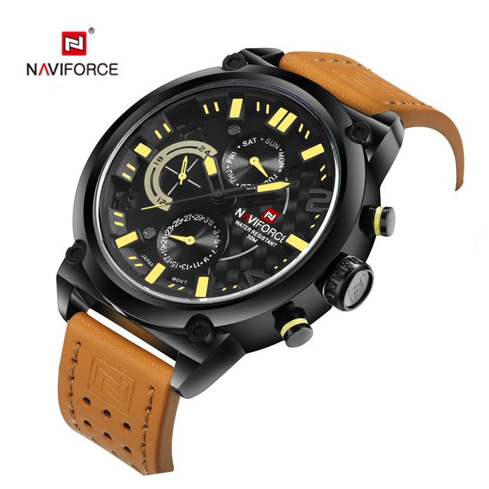NAVIFORCE 9068L Colorful Glass Mirror Business Male Quartz Watch Stereo Dial Wristband- Red