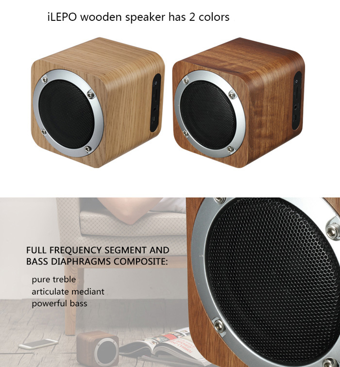 iLEPO i7 Desktop Wooden Speaker BT 4.0 Music Player