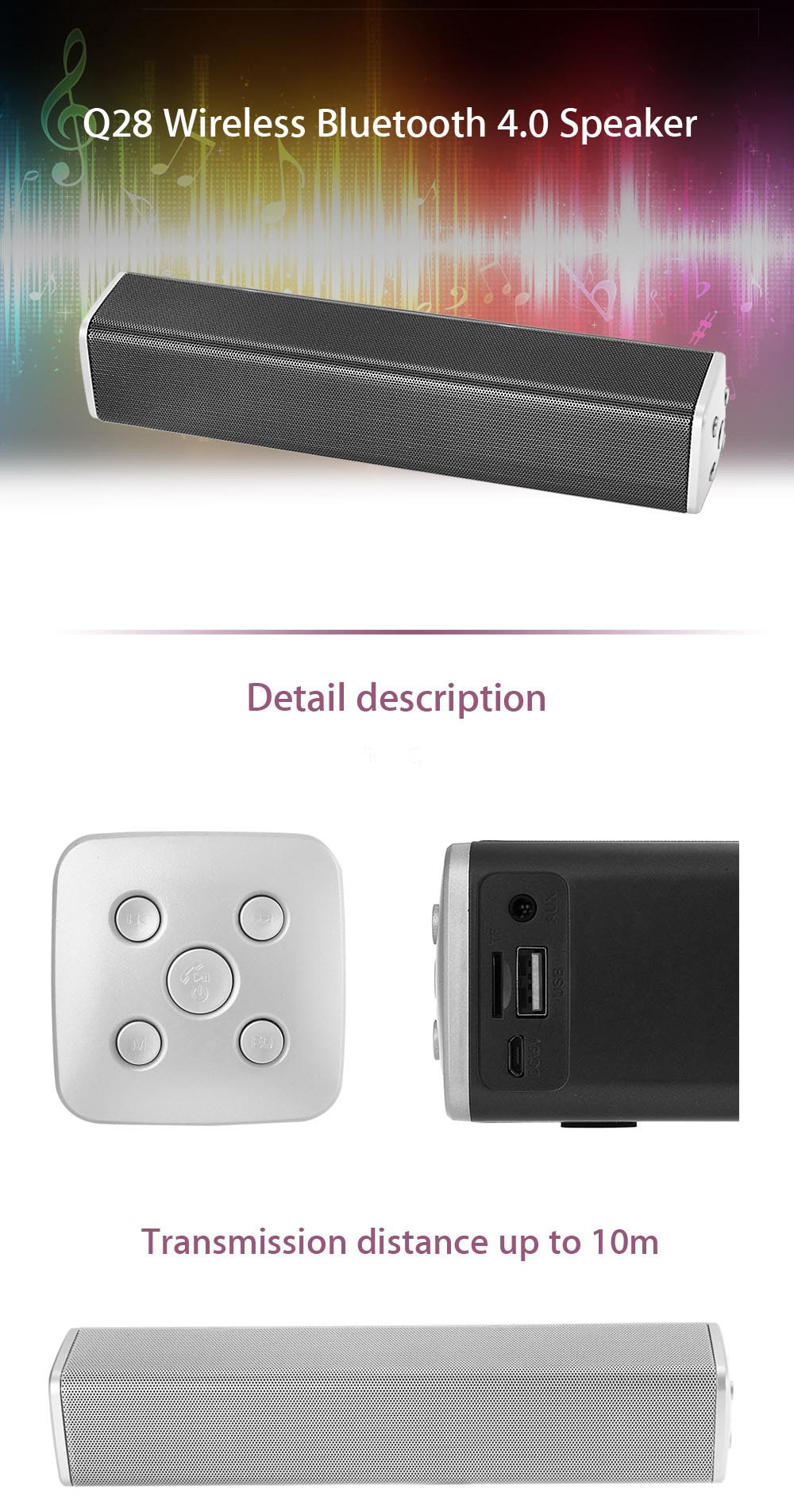 Q28 Wireless Bluetooth 4.0 Speaker Music Player Supporting Volume Control