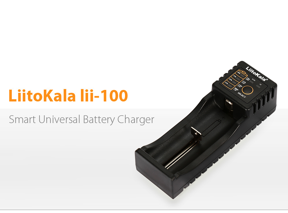 LiitoKala Lii - 100 Li-ion NiMH LiFePO4 USB Battery Charger- Black USB