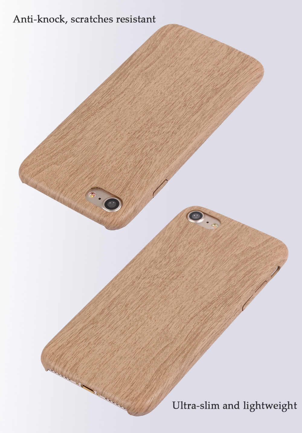 Luanke PU Leather Ultra-thin Matte Surface Protective Phone Back Case with Wood Grain for iPhone 7