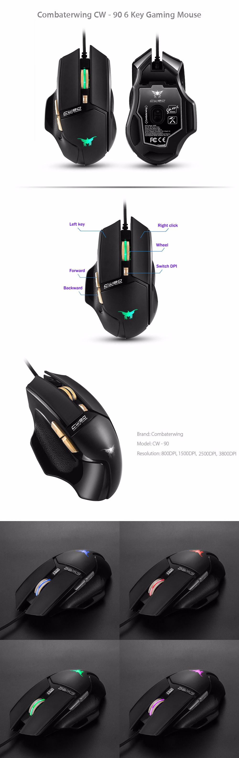 Combaterwing Cw 90 6 Key Gaming Mouse 1288 Free Shipping Keyboard Wireless And Combo Hk 3800 Dpi With Ergonomic Design Black