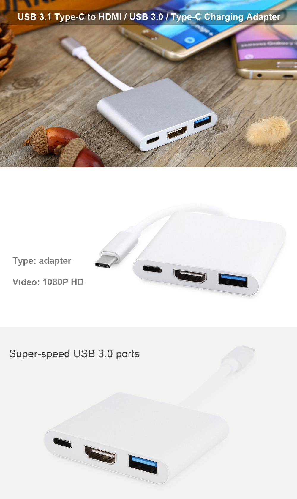 USB 3.1 Type-C Male Connector to HDMI / USB 3.0 / Type-C Charging Port Adapter