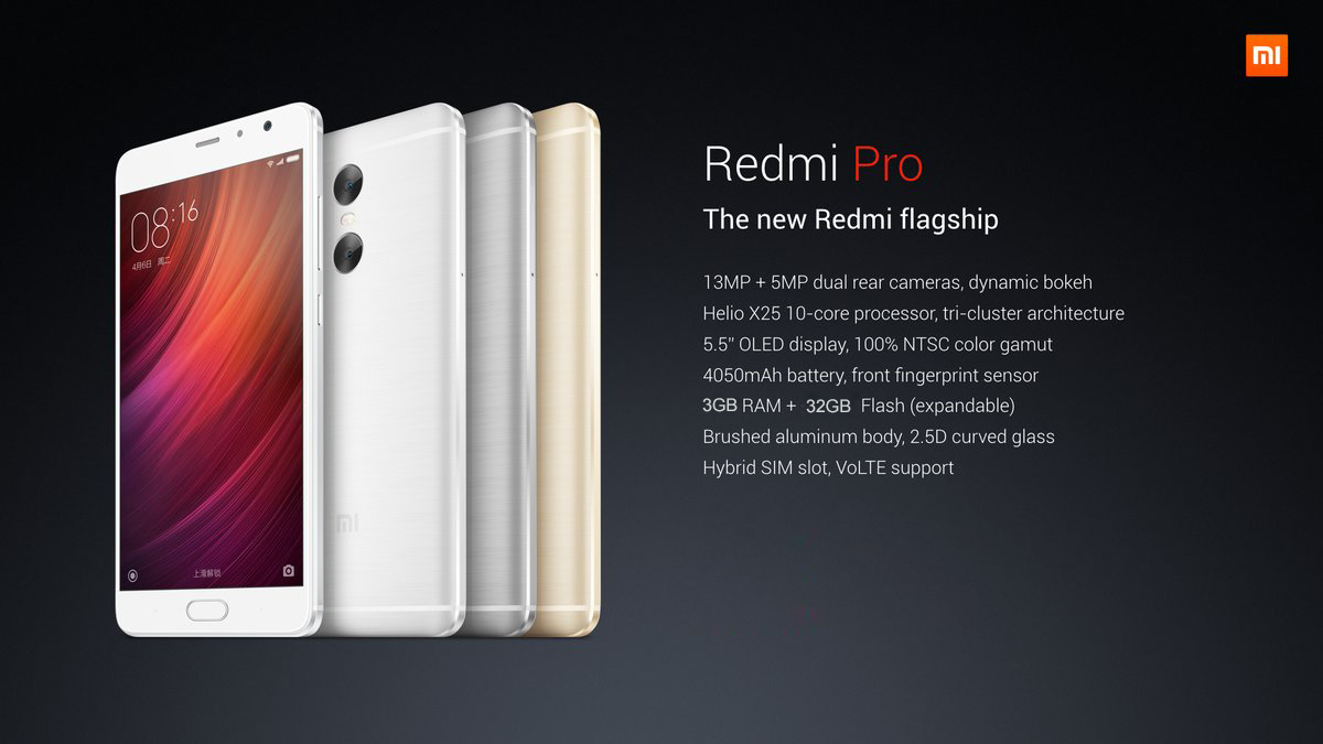 Xiaomi Redmi Pro MIUI 8 5.5 inch 2.5D Arc Screen 4G Phablet Helio X20 Deca Core 1.39GHz 3GB RAM 32GB ROM Fingerprint Scanner 13.0MP Rear Camera Bluetooth 4.2