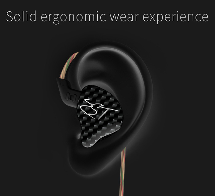 KZ ZST Dynamic HiFi Music In-ear Earphones Noise Canceling Super Bass with Mic Support Hands-free Calls- Black