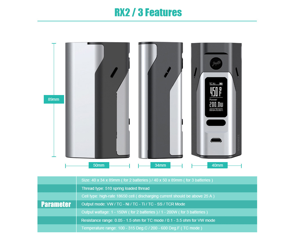 Original Wismec Reuleaux Rx2 3 150w 200w Tc Box Mod 4879 Steam Wallet Idr 250 Digital Code With Replaceable Back Cover