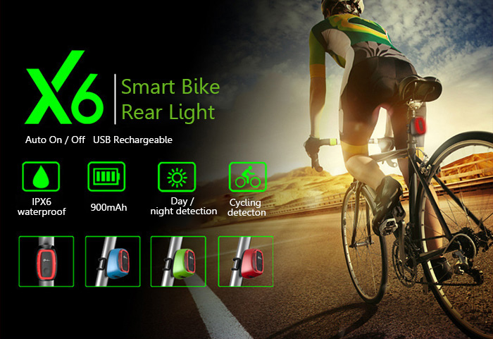 df09738d6e7 Meilan X6 USB Rechargeable Smart Bike Rear Light with 6 Modes 16 LED for  Night Cycling