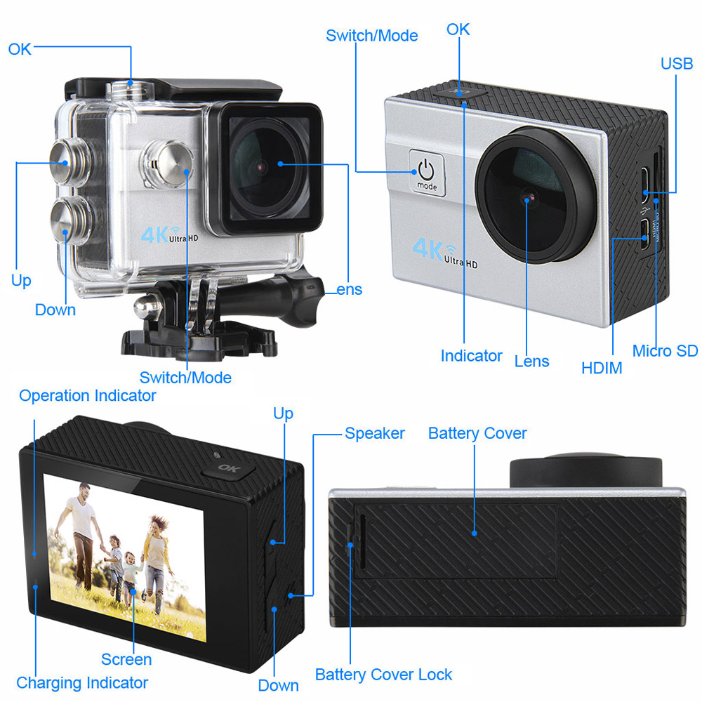 Q6H 4K 2 0 inch LCD Display WiFi Action Camera