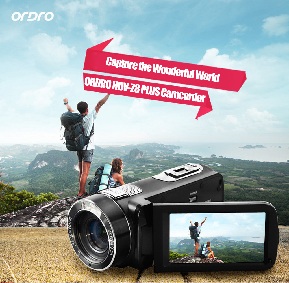Ordro Hdv Z8 Plus 24mp 16x Digital Zoom Dv Camera 8707 Free Wiring Diagram 1080p F26 Aperture 30 Inch Tft Touch Screen Black