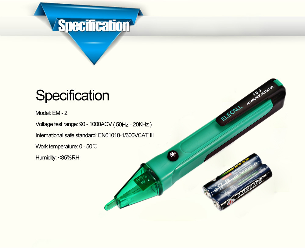 Elecall Em 2 Pen Type Non Contact Ac Voltage Detector 516 Free Portable Test Pencil Voltmeter Circuit Package Contents 1 X With Battery