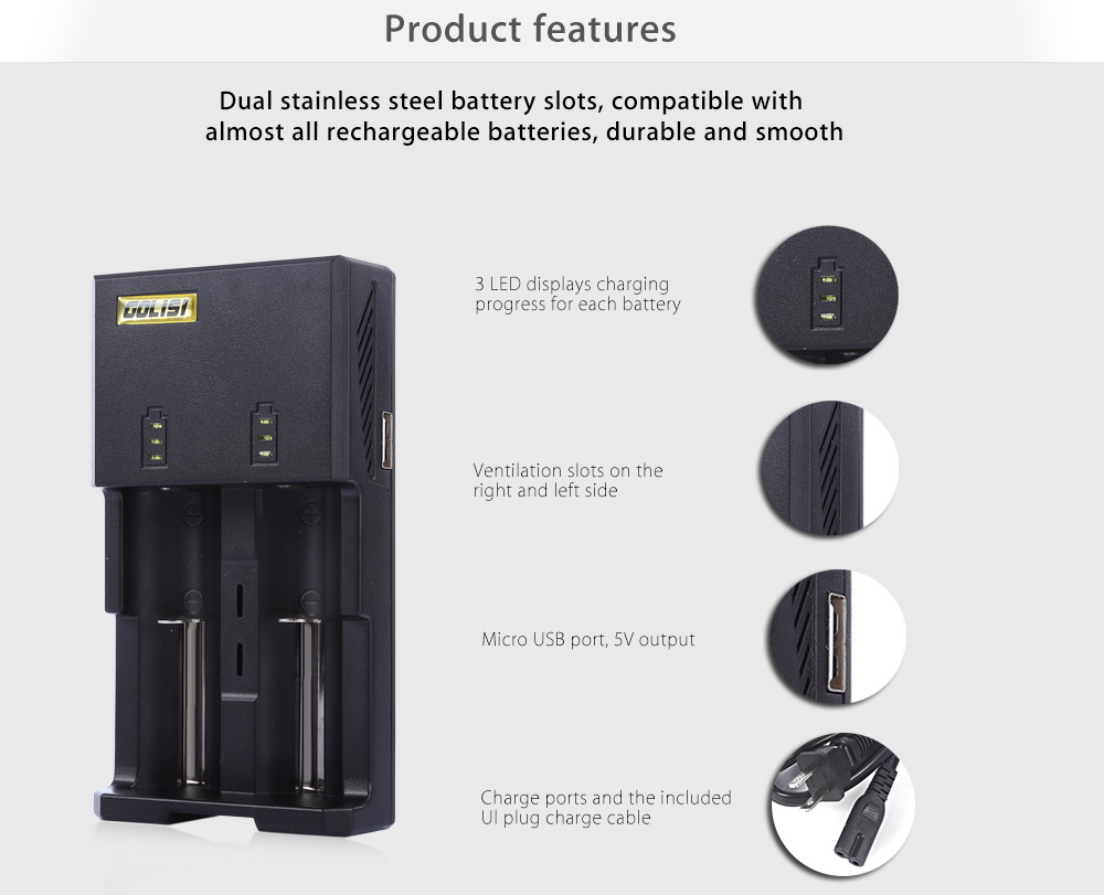 Original Golisi G2 Intelligent Digi Charger 1440 Free Shipping Batre Vapor 2 Slot Non Kabel Package Contents 1 X Charge Cable Chinese English User Manual