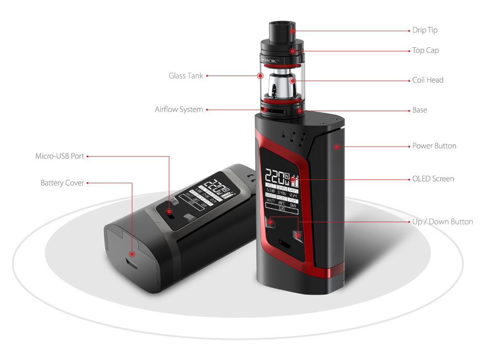 RHA 220W Alien Kit with 200 - 600F / 100 - 315C TC Box Mod / 3.0ml / 0.15ohm / 0.4ohm TFV8 Baby Tank Atomizer for E Cigarette- Black and Grey