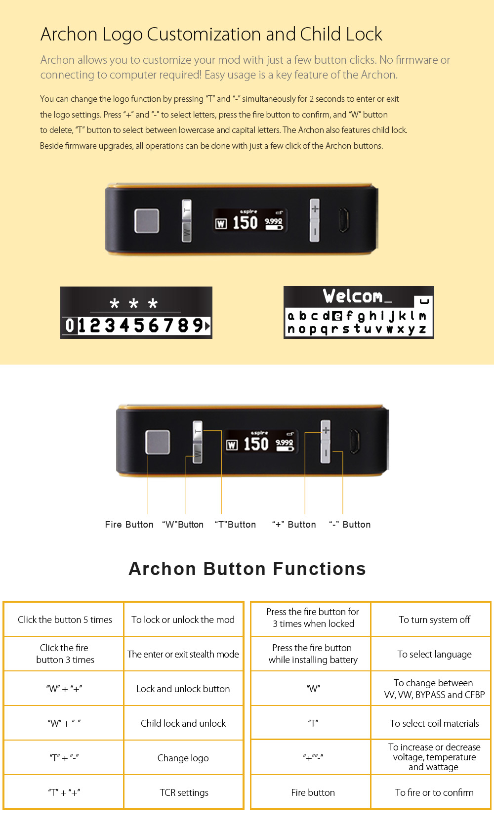 Original Aspire Archon TC Mod with 1 - 150W / 100 - 300C / 200 - 600F / Customizable Firing Button Profiles for E Cigarette