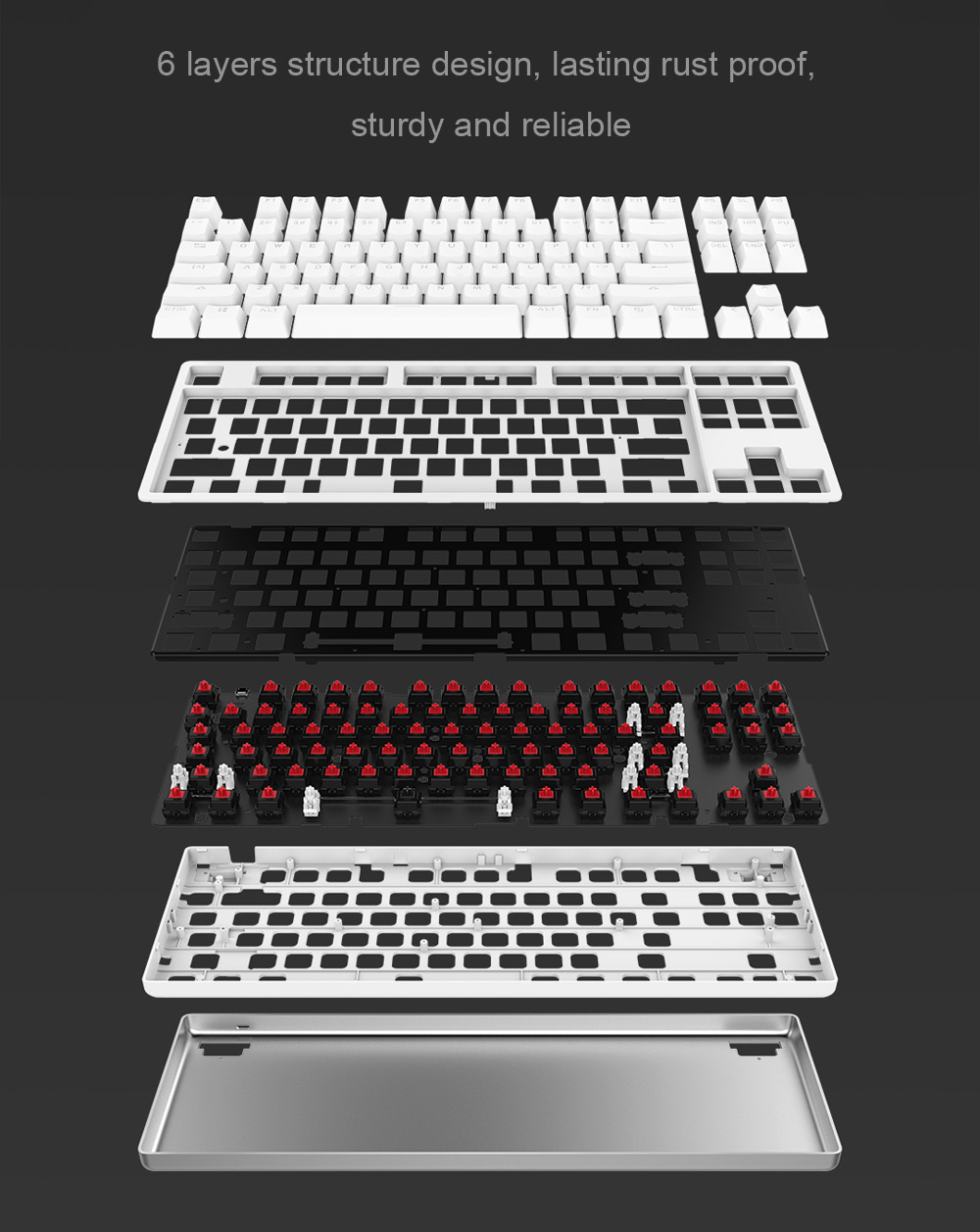 Yuemi MK01 NKRO Mechanical Keyboard with 87 Key Red Switch Backlight- White