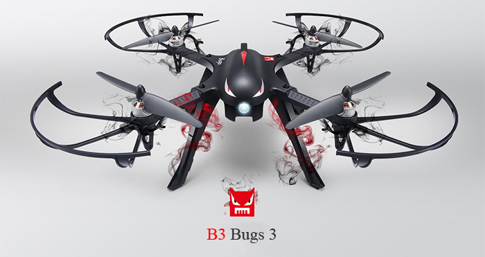 MJX B3 Bugs 3 RC Quadcopter RTF Two-way 2.4GHz 4CH with Action Camera Bracket