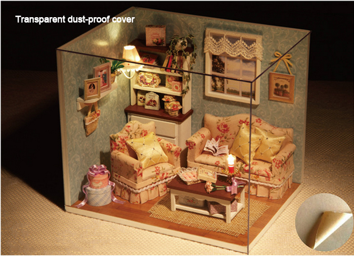 Wooden DIY House Miniature Kit with LED Light Handcraft Toy