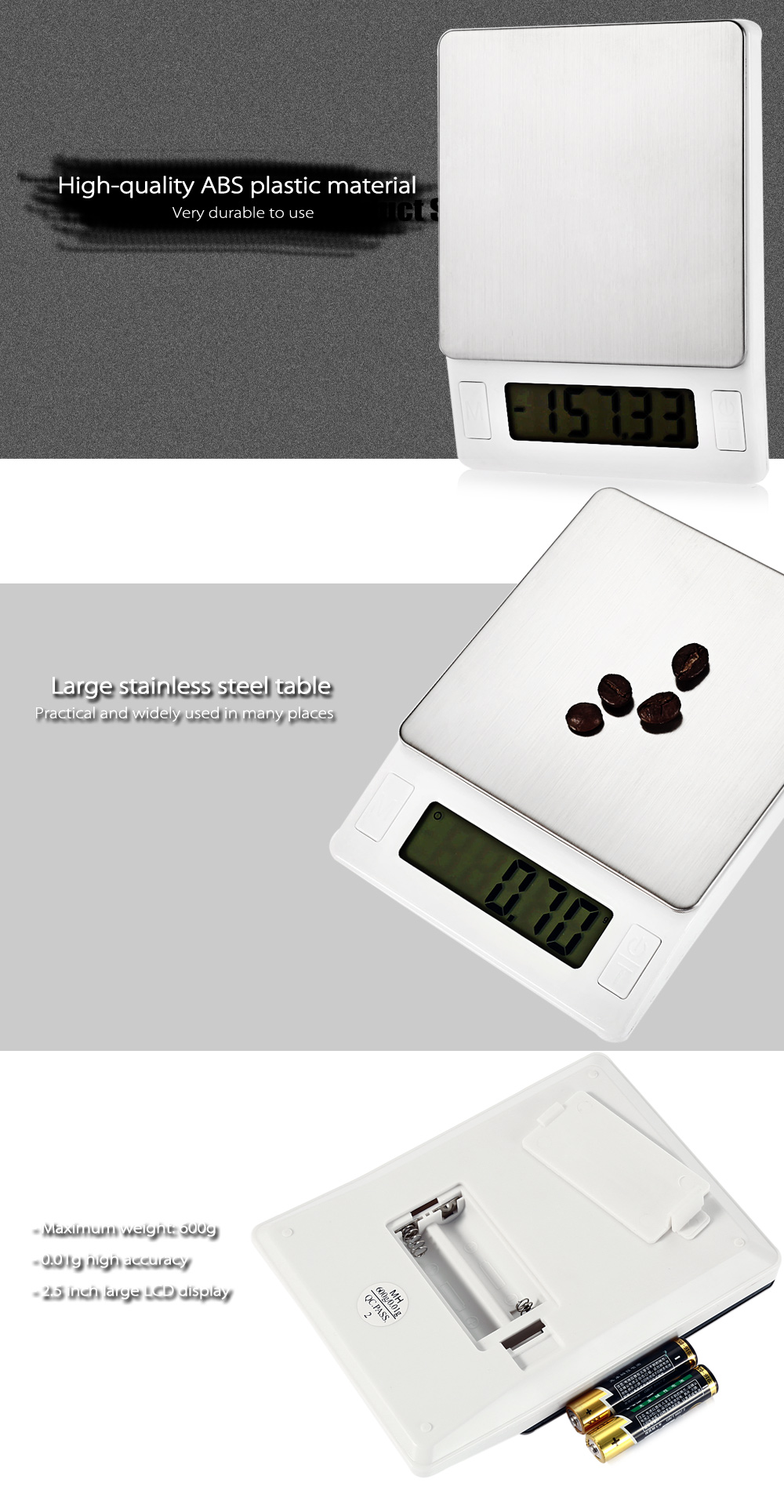 MH - 444 Precise 600g 2.5 inch LCD Screen Digital Scale
