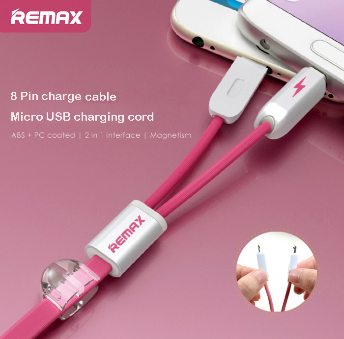 REMAX 2 in 1 8Pin Micro USB Interface Fast Charging Cable with Flat Design 1m