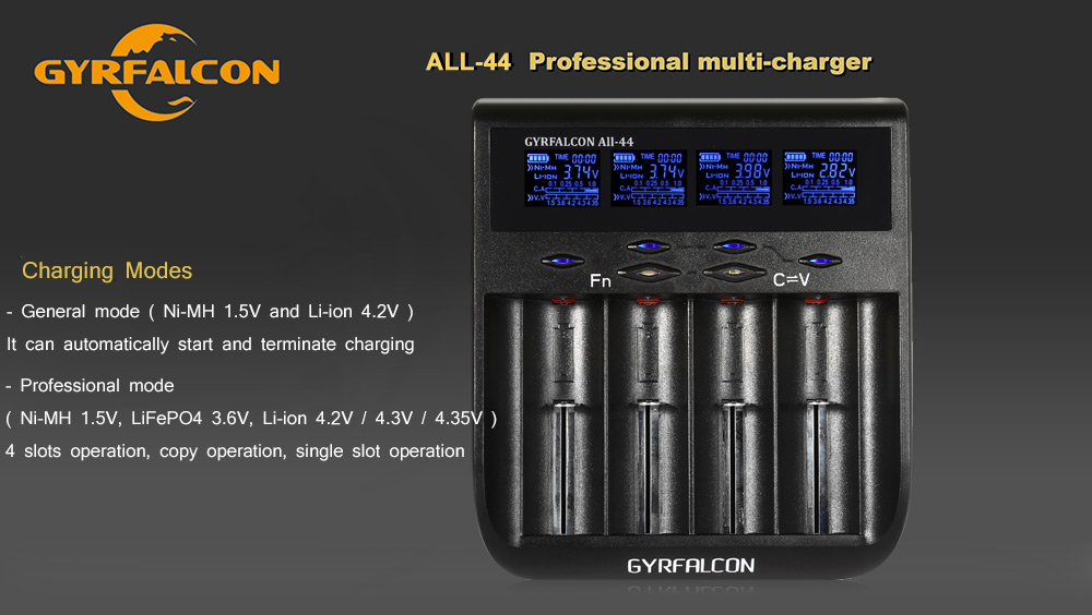 GYRFALCON All - 44 Smart Universal Battery Charger 4 Slots LCD Display- Black EU Plug