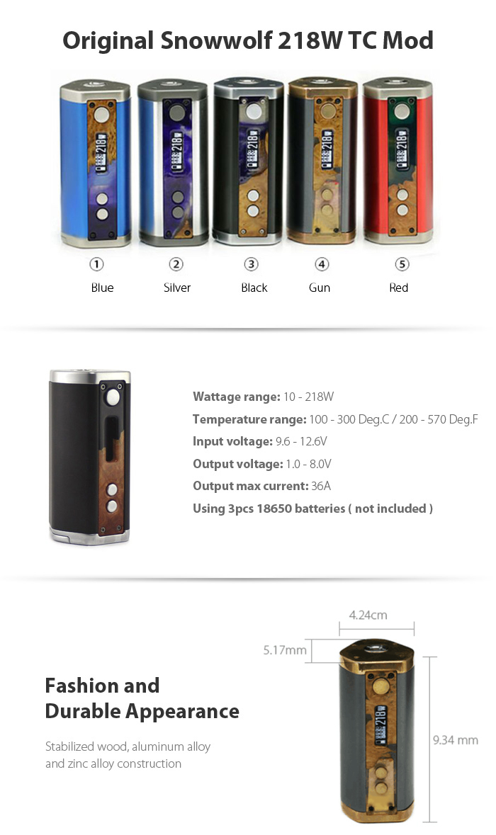 Original Snowwolf 218W TC Mod with 100 - 300C / 200 - 570F / 1.0 - 8.0V / Stabilized Wooden Construction for E Cigarette