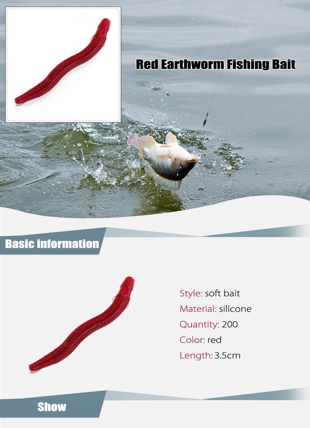 200pcs 3.5cm Red Earthworm Style Fishing Bait Artificial Soft Lure