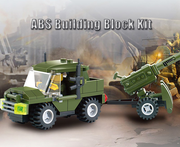 Military Theme DIY Vehicle Building Block Kit Educational Toy