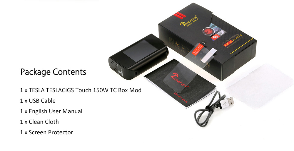 Original TESLA TESLACIGS Touch 150W TC Box Mod with 2.4 inch IPS Touch Screen / 200 - 600F / Various TC Modes / Firmware Upgradeable for E Cigarette