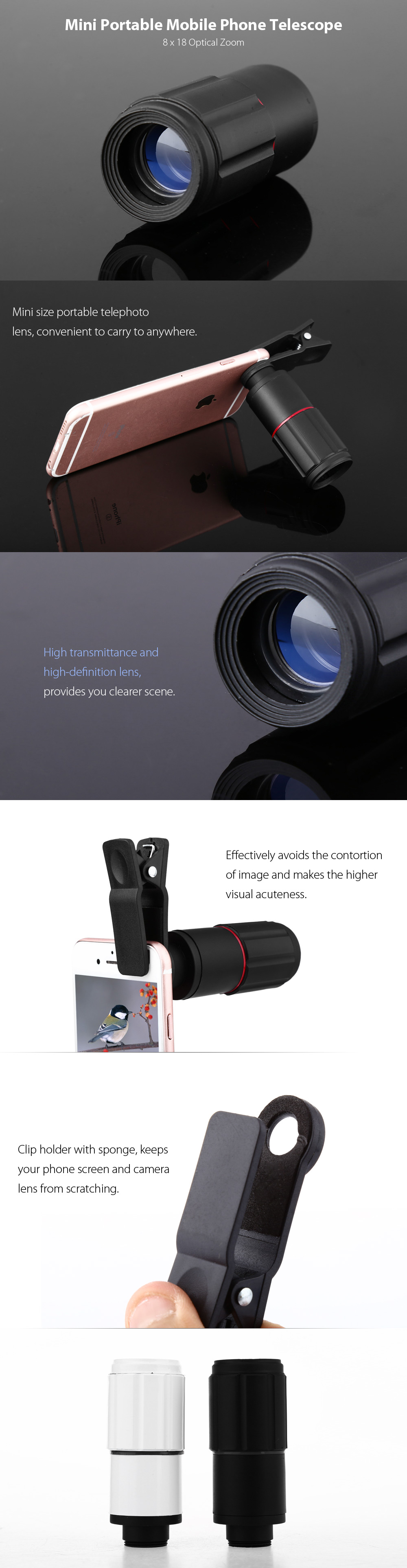 8 X 18 Optical Zoom Mobile Phone Telescope 686 Free Shipping Lens 8x With Universal Clamp Black Mini Portable Telephoto White 77mmx32mm