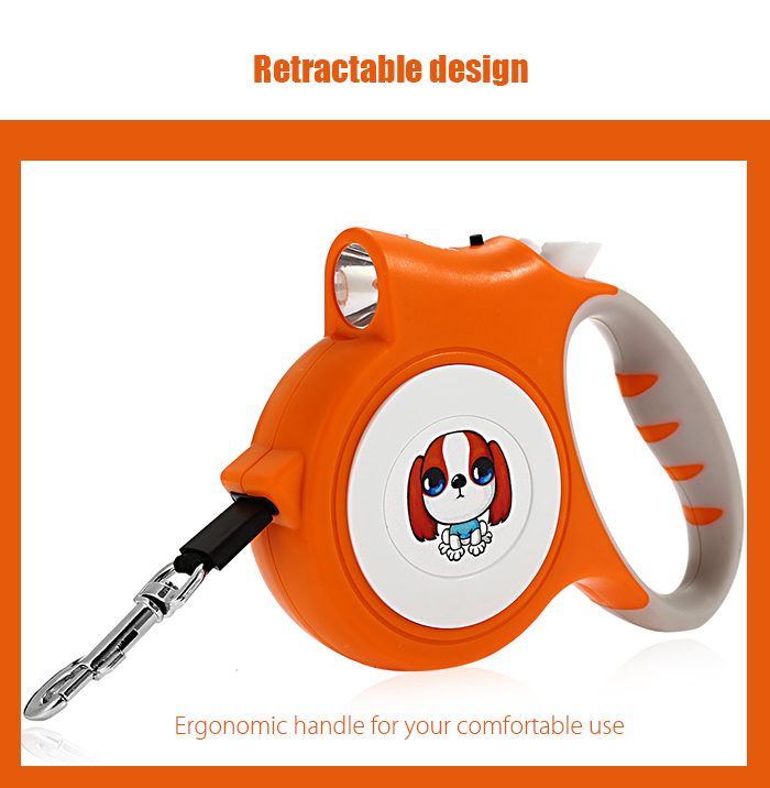 5M Retractable Dog Leash Lead with LED Light for Pet Walking Training