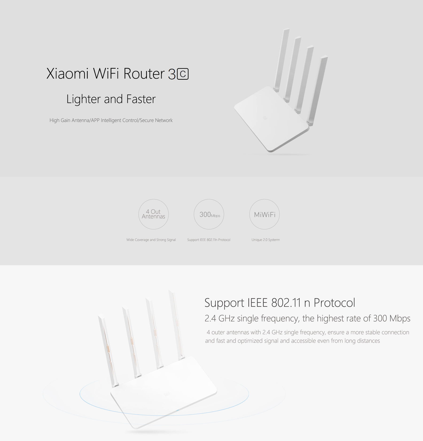 Original Xiaomi Mi 300Mbps 2.4GHz WiFi Router 3C Signal Booster with 4 Antenna English Version