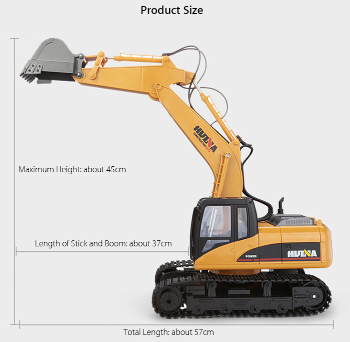 HUINA 1550 1:14 2.4GHz 15CH RC Alloy Excavator RTR with Independent Arms Programming Auto Demonstration Function- Yellow