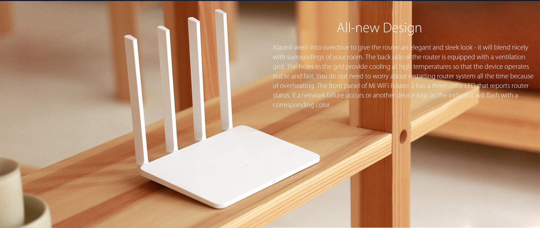 Original English Version Xiaomi Mi WiFi Router 3 1167Mbps 2.4GHz 5GHz Dual Band 128MB Flash ROM with 4 Antennas- White 128MB