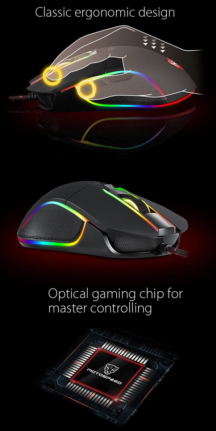 Motospeed V30 Professional USB Wired Gaming Mouse with LED Backlit Display- Black