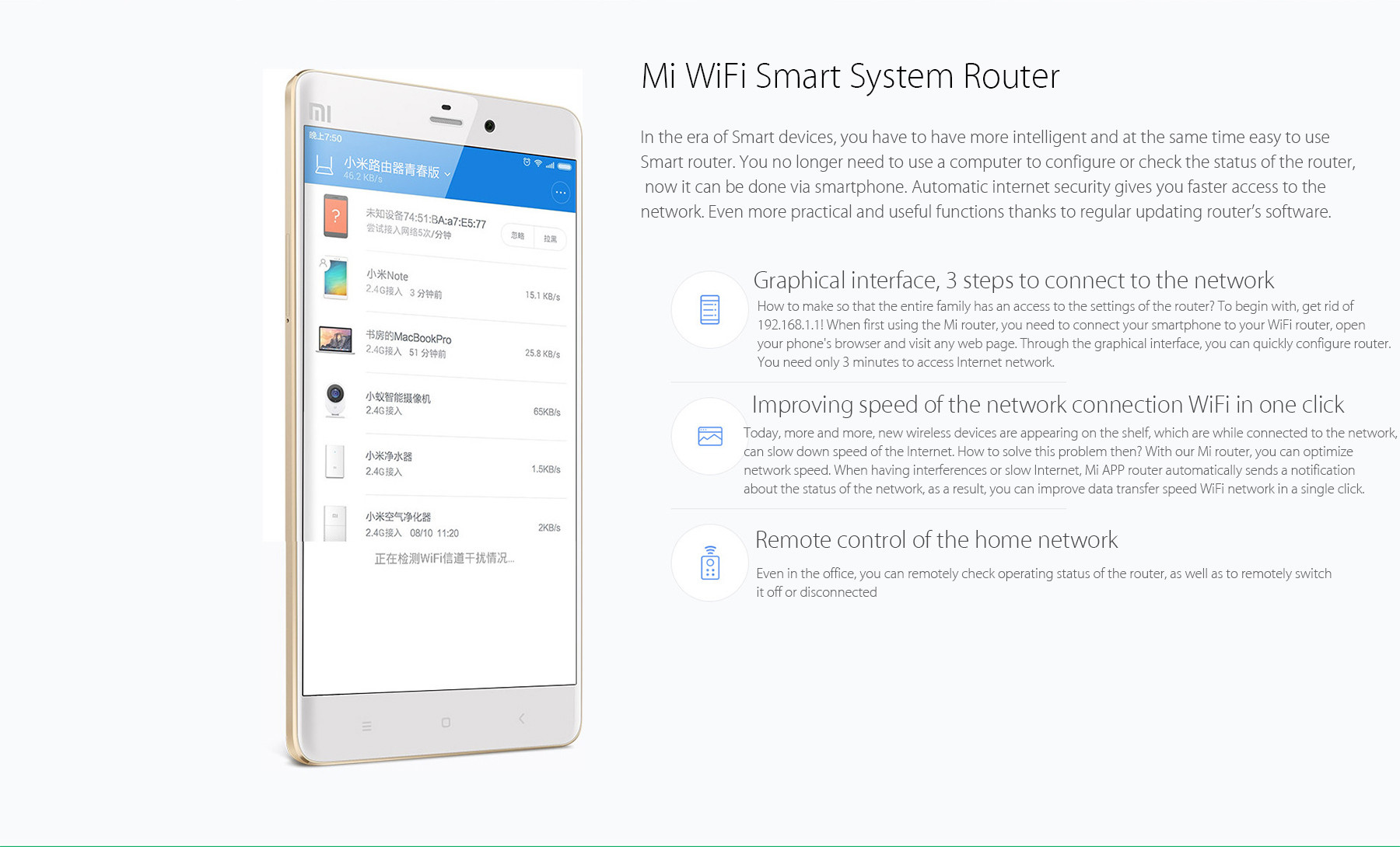 XiaoMi Mi WiFi Router Youth Edition 2.4GHz Band 300Mbps Wireless Repeater for iPhone 6S / 6S Plus / 6 / 6 Plus / iPad Pro / Samsung S6 / Edge S6 / HTC ONE M9 / HUAWEI P8- White