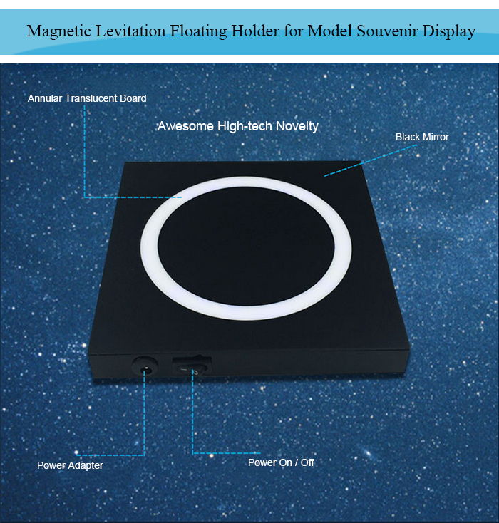 Maglev Floating Holder with LED Lights High-tech Novelty for Model Display- Colormix