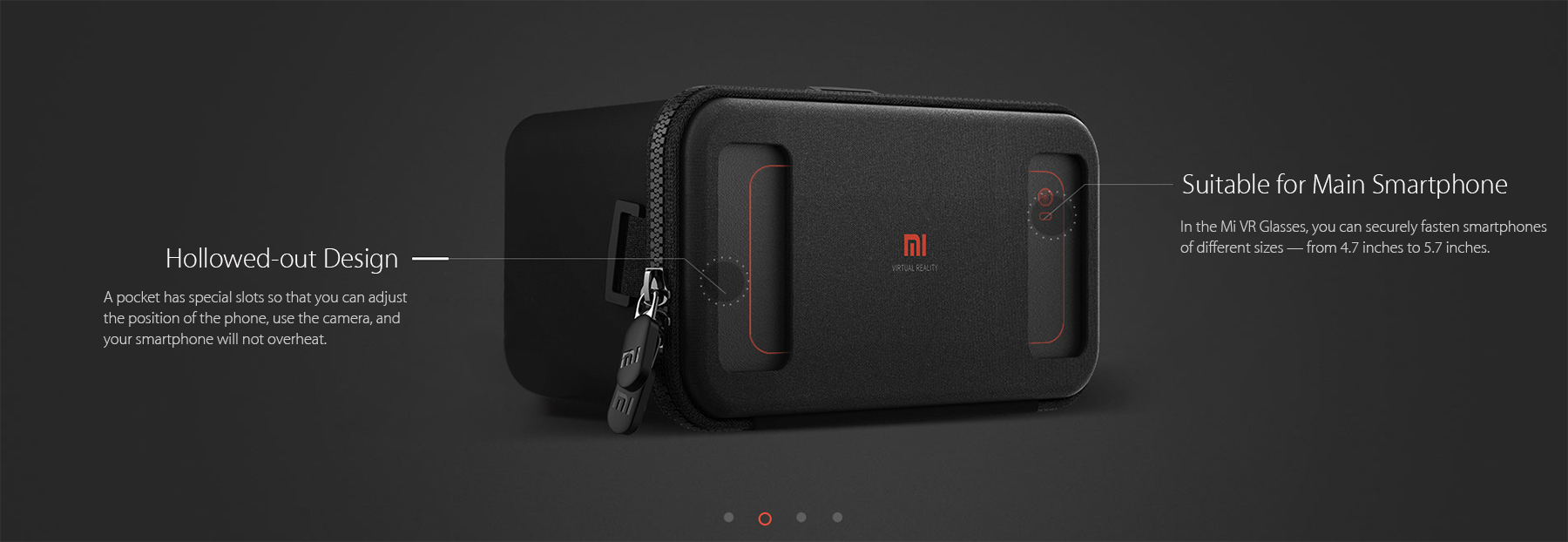 Original Xiaomi VR Virtual Reality 3D Glasses Novelty Design for 4.7 - 5.7 inch Smartphone Immersive Experience- Black