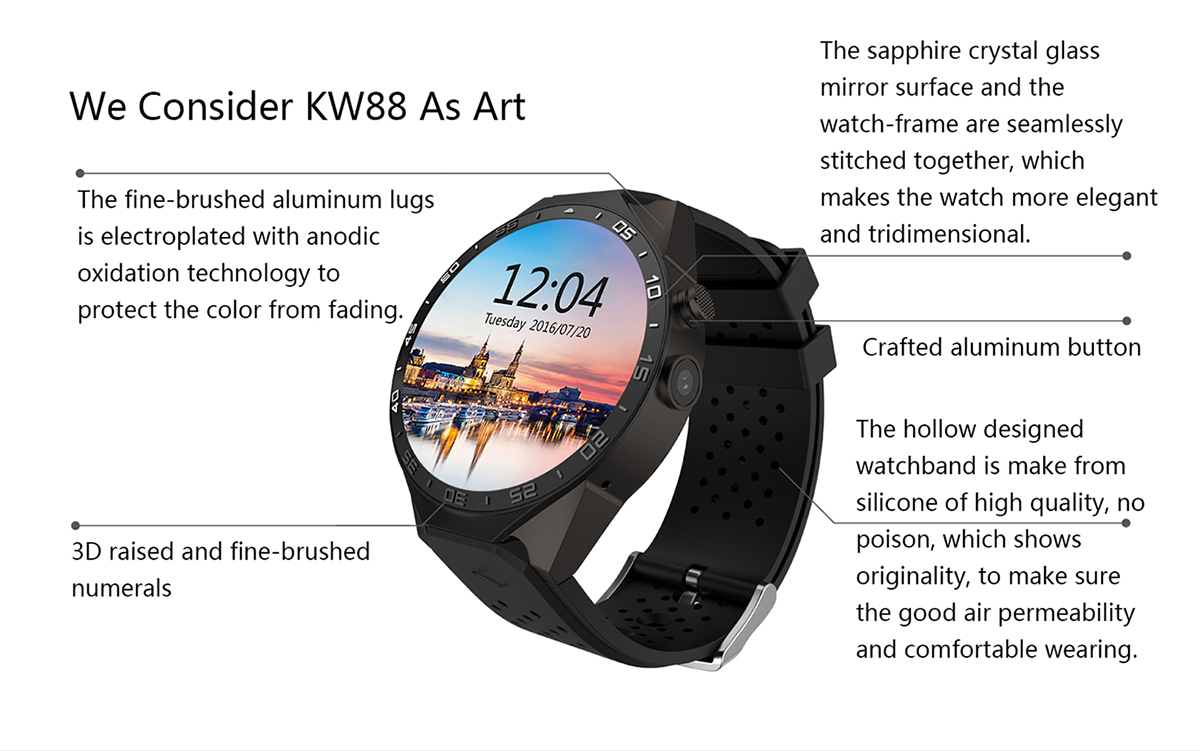 KingWear KW88 Android 5.1 1.39 inch Amoled Screen 3G Smartwatch Phone MTK6580 Quad Core 1.39GHz 512MB RAM 4GB ROM GPS Gravity Sensor Pedometer