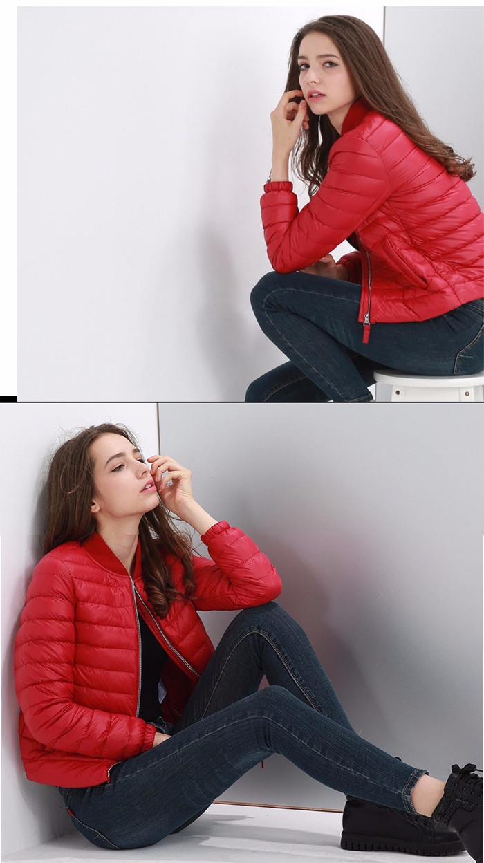 Women Short Down Jacket with Stand-up Collar