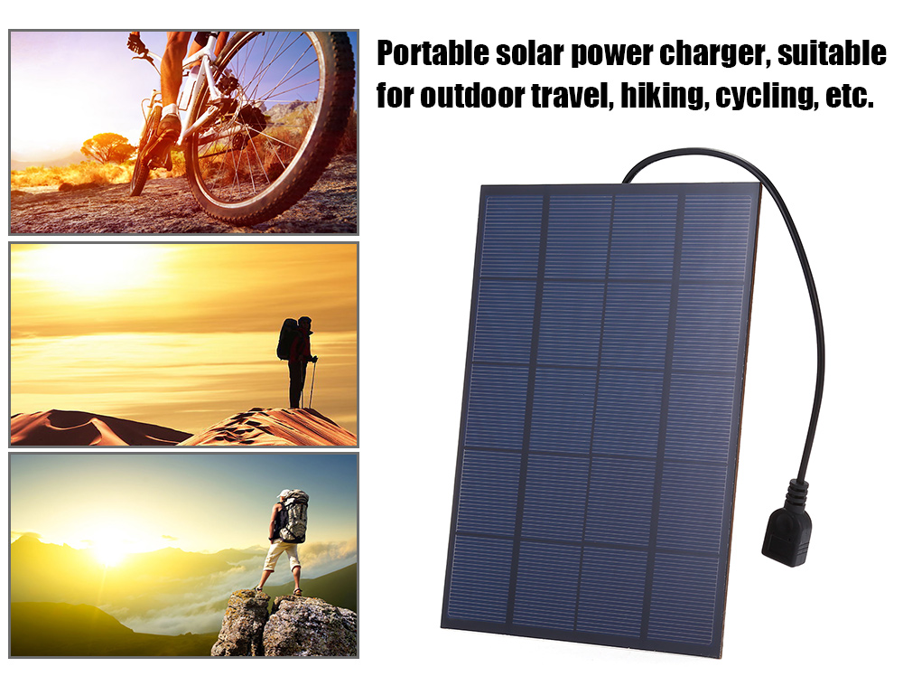 SUNWALK 5.5W 5V Monocrystalline Silicon Solar Charger Panel Outdoor Travel Portable Power Bank with USB Female Port