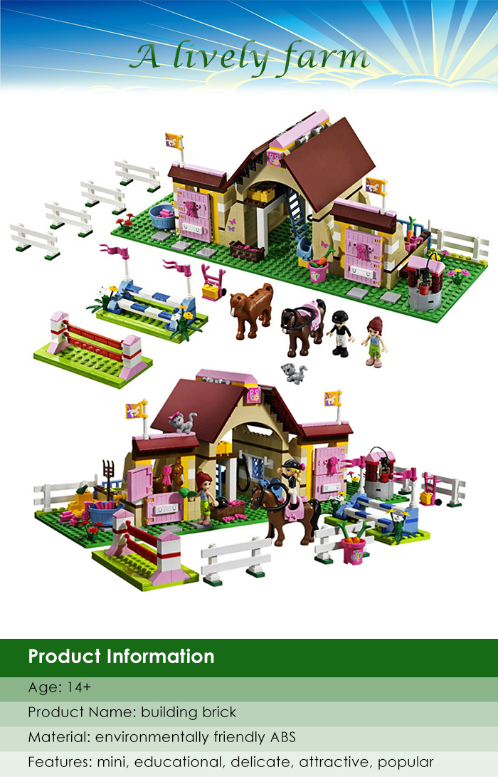 Cartoon Figure Building Block ABS Educational Farm Theme Kid Toy - 400pcs