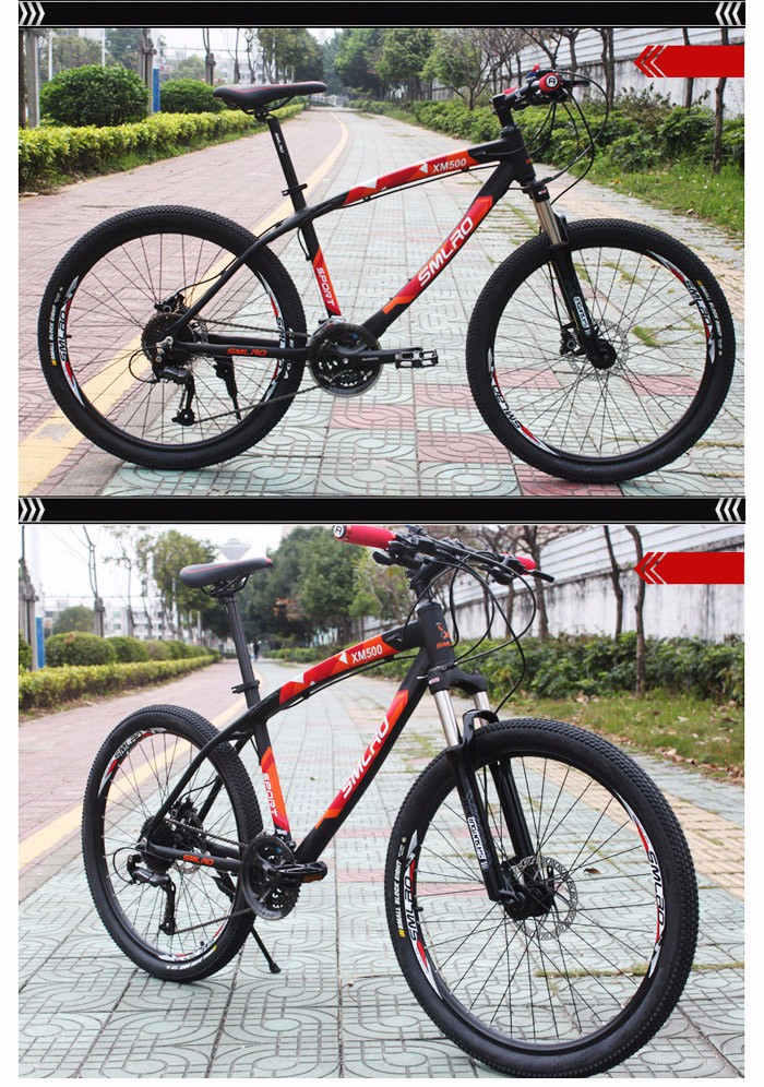 SMLRO XM500 26 inch 27 Speed Mountain Bike Double Disc Brakes Spoked Wheel Aluminum Alloy Frame Cycling Bicycle