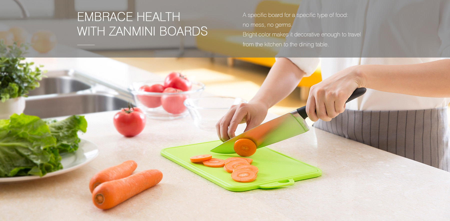 zanmini Color-coded Food Graded PP Cutting Board Set- Red