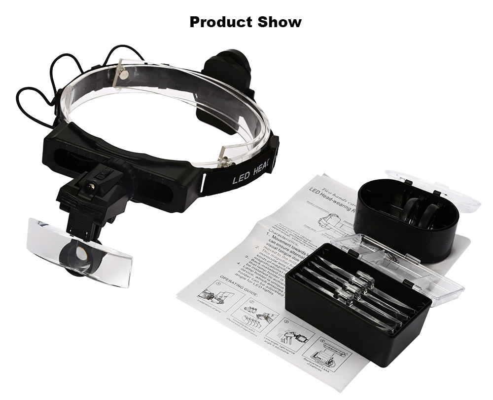 Adjustable Headband Interchangeable Magnifier Eyeglasses with 1 LED