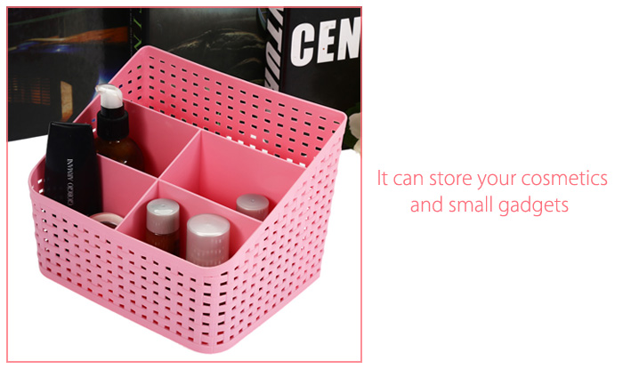 SUMSHUN Multifunctional Weave Makeup Storage Box Container- Green