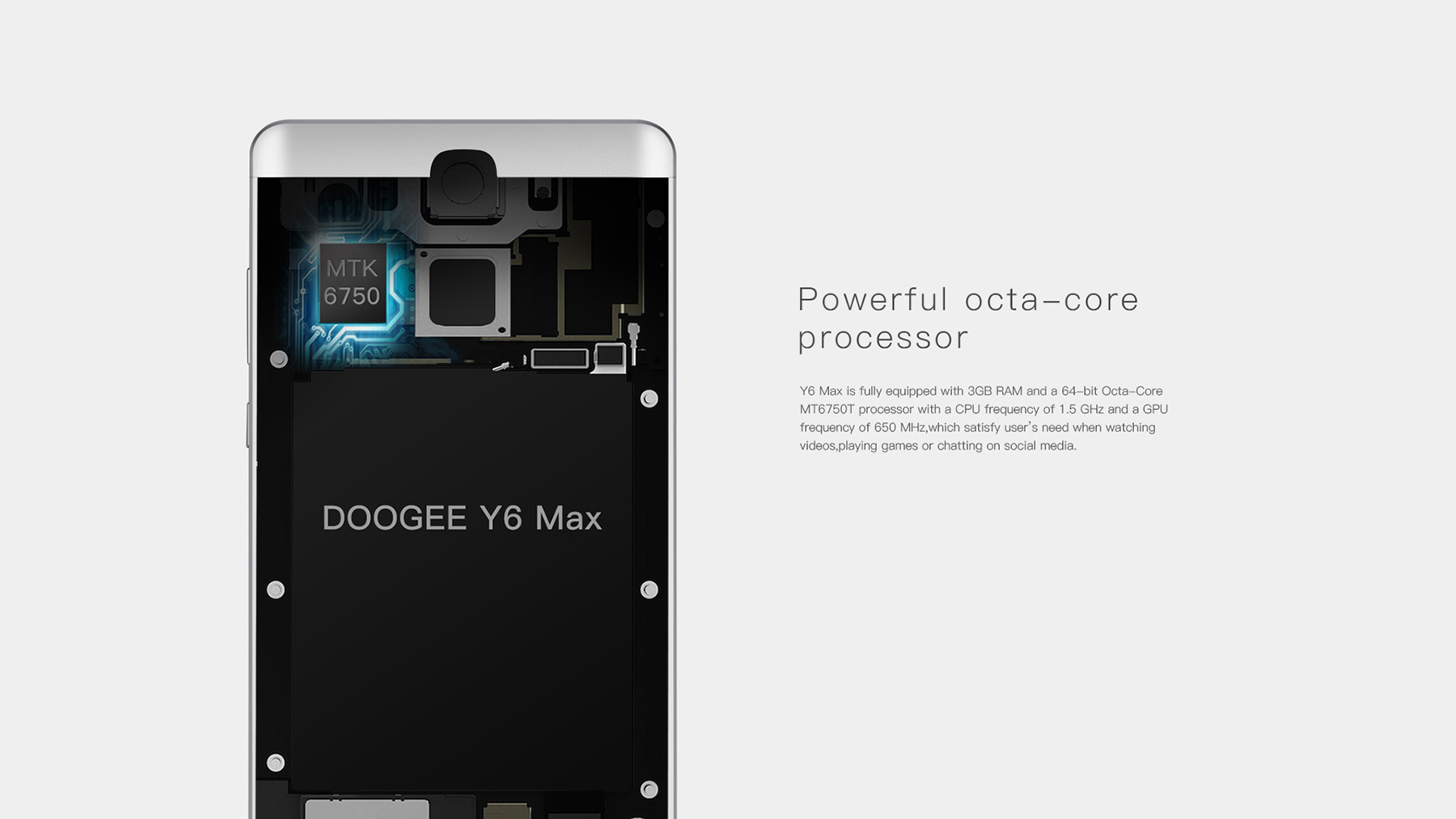 DOOGEE Y6 Max Android 6.0 6.5 inch 4G Phablet MTK6750 Octa Core 1.5GHz 3GB RAM 32GB ROM 13.0MP Rear Camera