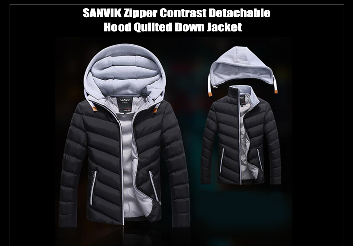SANVIK Zipper Contrast Quilted Down Jacket with Detachable Hood