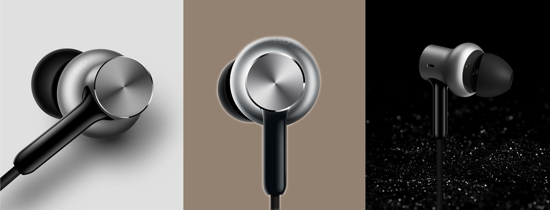Original Xiaomi QTEJ02JY In-ear Hybrid Earphones Pro HD Dynamic Balanced Armature Driver Volume Control- Silver