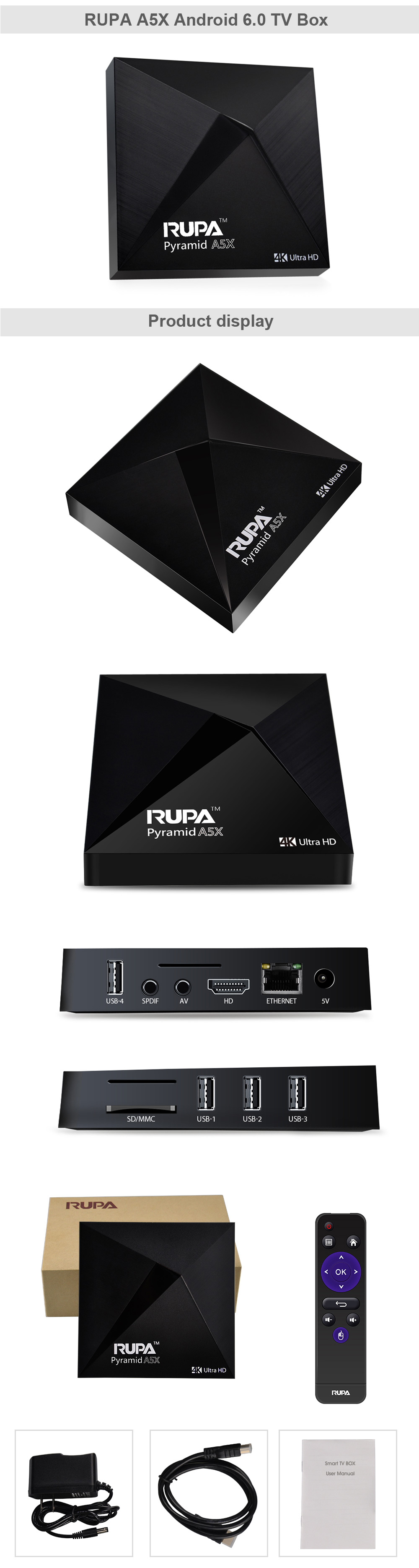 RUPA A5X TV Box Amlogic S905X Quad Core Android 6.0 BT 4.0
