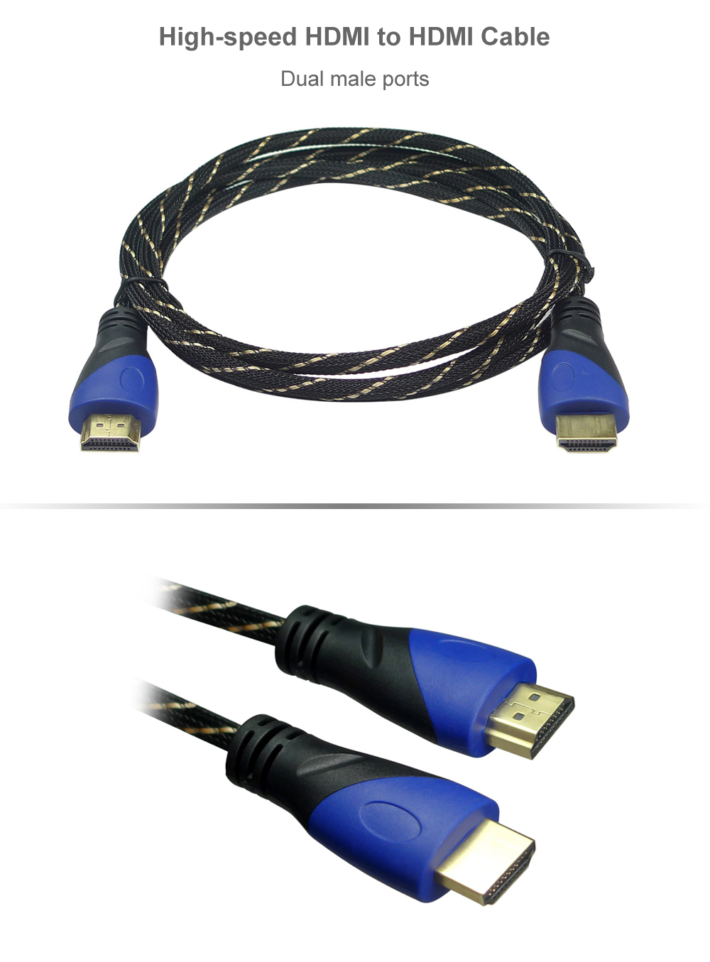 1m High-speed HDMI to HDMI Cable Dual Male Port
