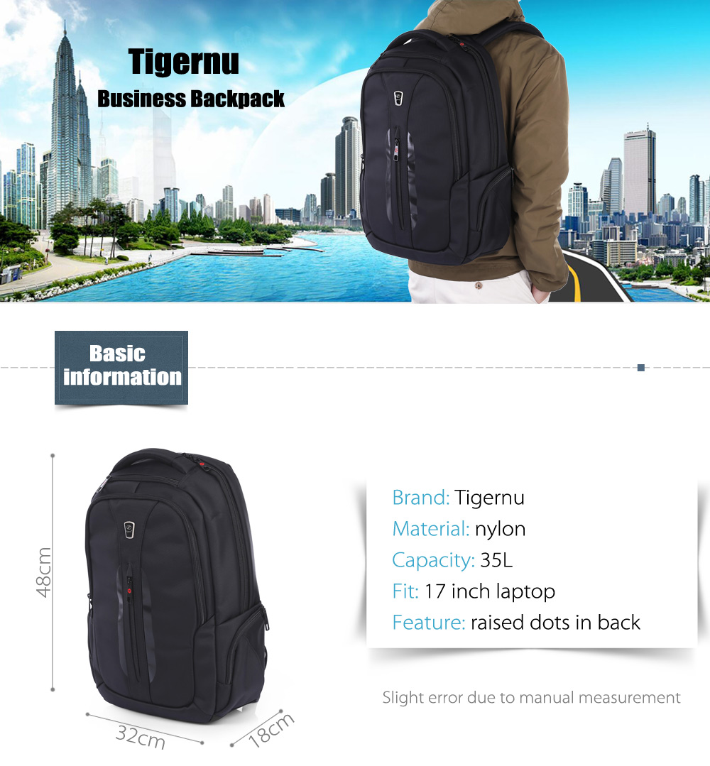 Tigernu T - B3097 Water-resistant Nylon 35L Business Backpack Bag for 17 inch Laptop